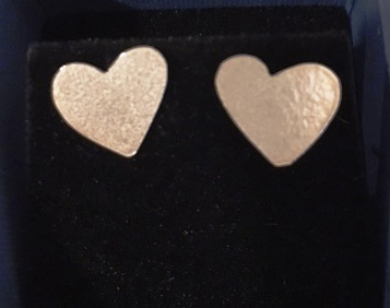 Sparkly silver heart studs