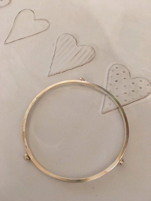 Bangle with 3 silver nuggets