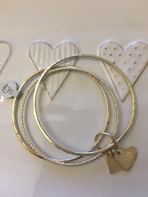 Trio of 3 bangles 2 heart charms